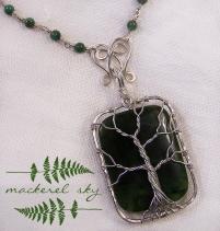 Tree. Sterling silver, nephrite jade, and jasper. 2013
