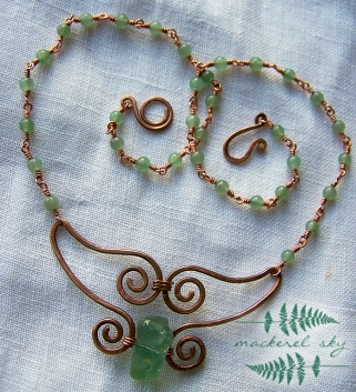Whale's tail in recycled copper and beach glass. 2012.