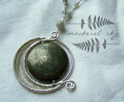 Crescent moon in sterling silver and pyrite, with labradorite chain. 2013