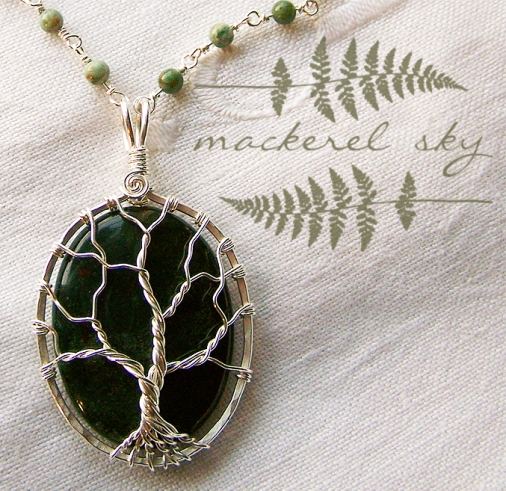 Tree in sterling silver with nephrite jade and jasper. 2013