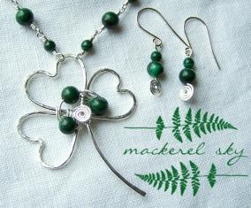 Shamrock necklace set. Sterling silver and malachite. 2013